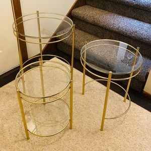 Beautiful brass and glass nesting table set